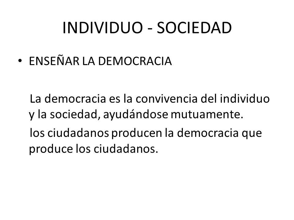 INDIVIDUO - SOCIEDAD ENSEÑAR LA DEMOCRACIA