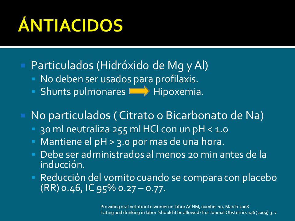 ÁNTIACIDOS Particulados (Hidróxido de Mg y Al)