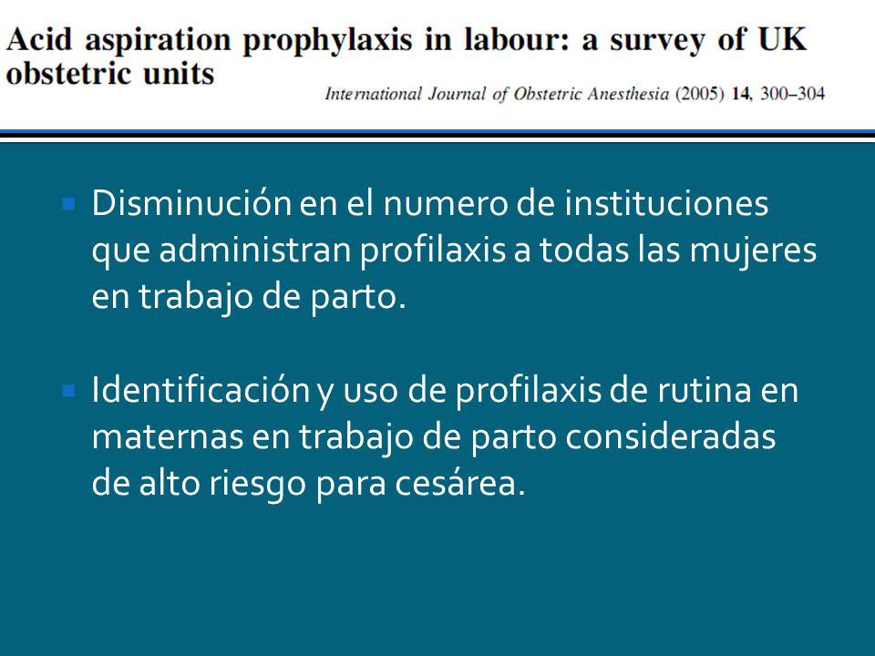 Disminución en el numero de instituciones que administran profilaxis a todas las mujeres en trabajo de parto.