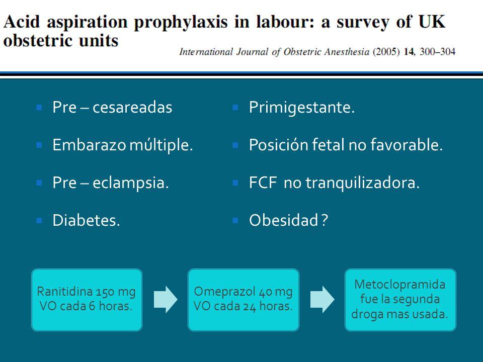 Posición fetal no favorable. FCF no tranquilizadora. Obesidad