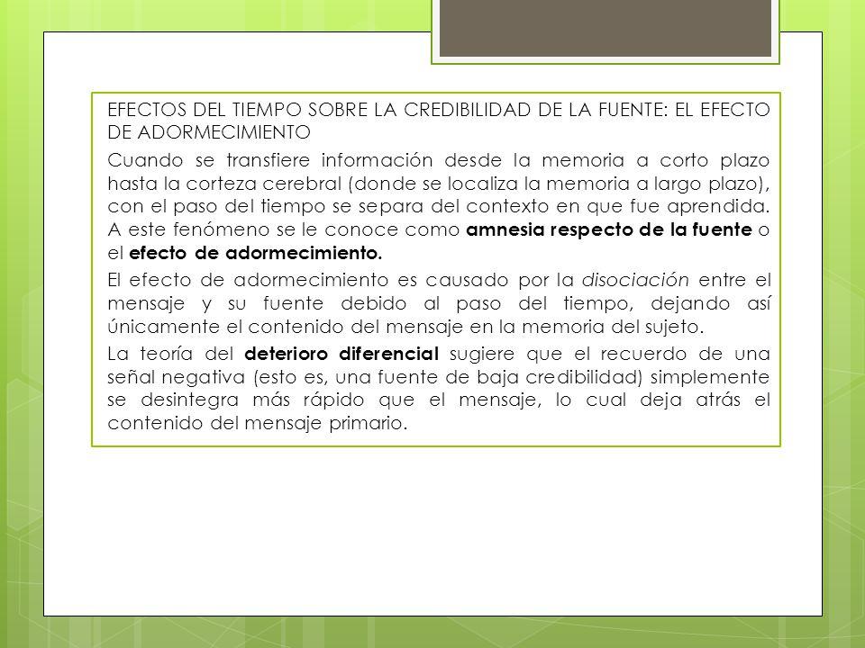 EFECTOS DEL TIEMPO SOBRE LA CREDIBILIDAD DE LA FUENTE: EL EFECTO DE ADORMECIMIENTO