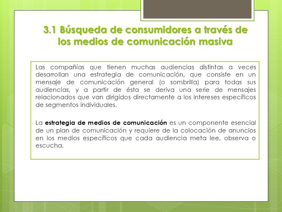 3.1 Búsqueda de consumidores a través de los medios de comunicación masiva