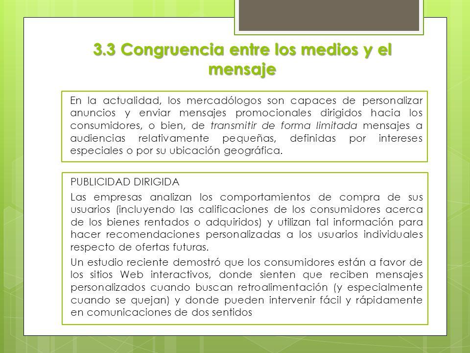 3.3 Congruencia entre los medios y el mensaje