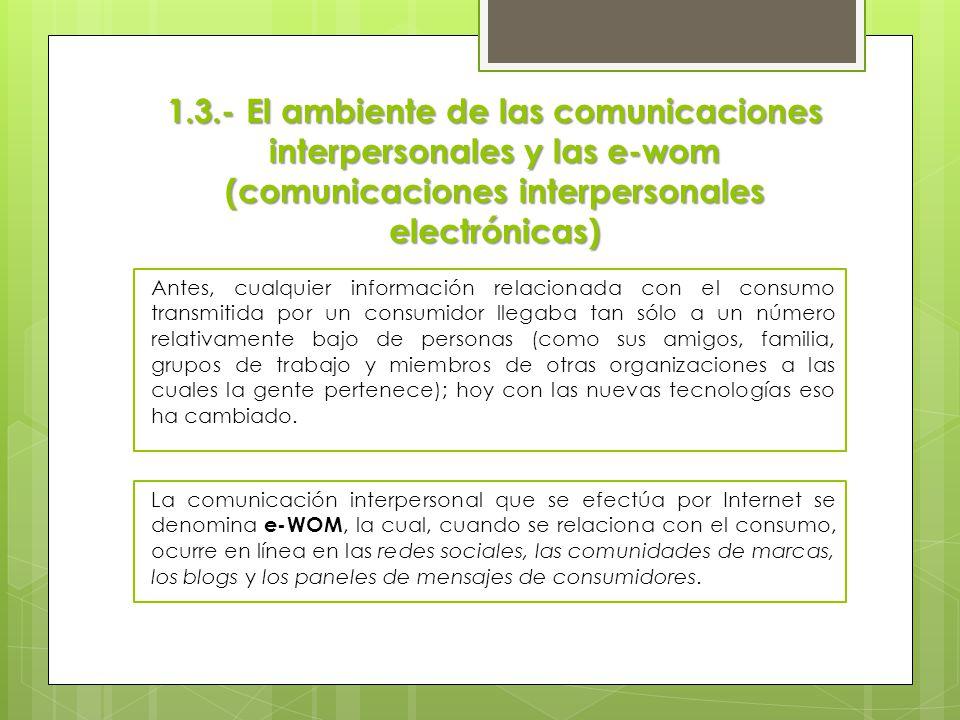 1.3.- El ambiente de las comunicaciones interpersonales y las e-wom (comunicaciones interpersonales electrónicas)
