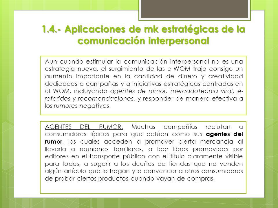 1.4.- Aplicaciones de mk estratégicas de la comunicación interpersonal