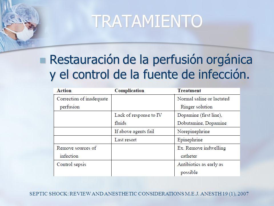 TRATAMIENTO Restauración de la perfusión orgánica y el control de la fuente de infección.