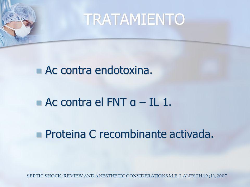 TRATAMIENTO Ac contra endotoxina. Ac contra el FNT α – IL 1.