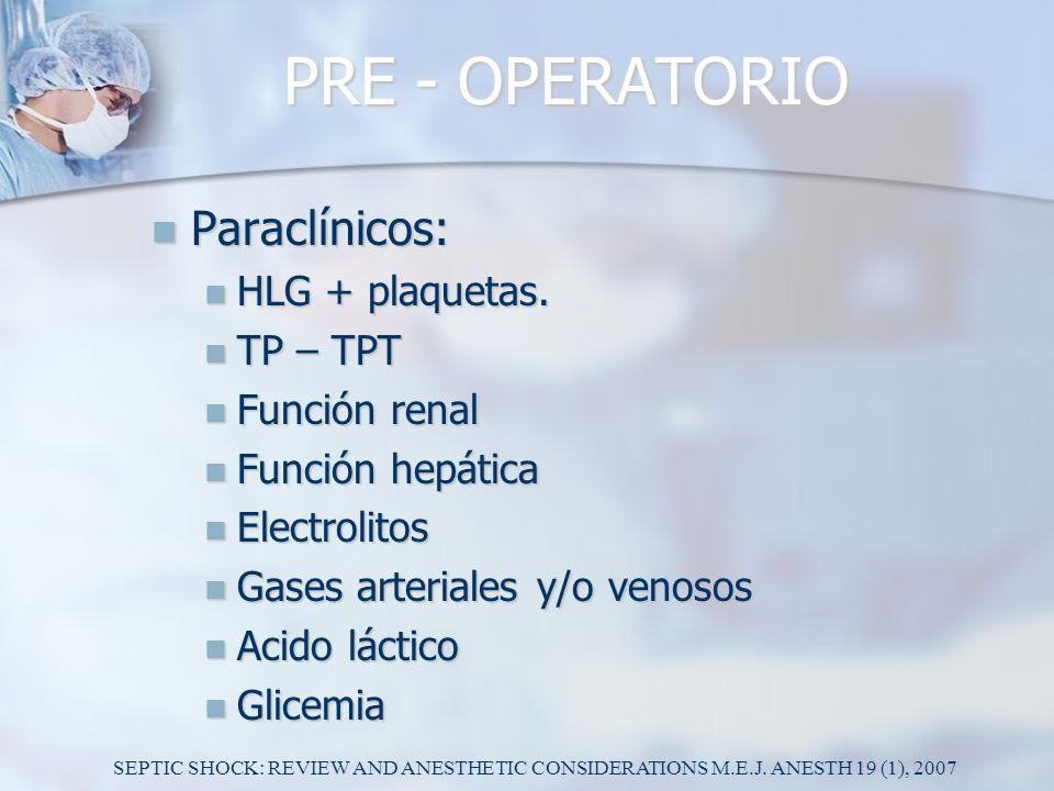 PRE - OPERATORIO Paraclínicos: HLG + plaquetas. TP – TPT Función renal