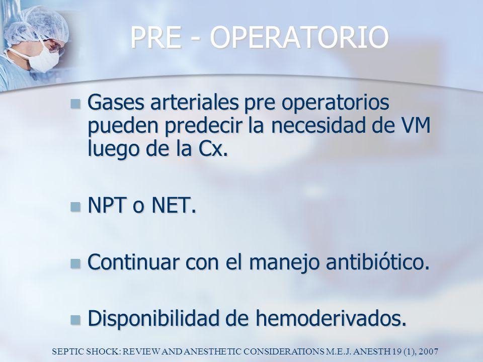 PRE - OPERATORIO Gases arteriales pre operatorios pueden predecir la necesidad de VM luego de la Cx.