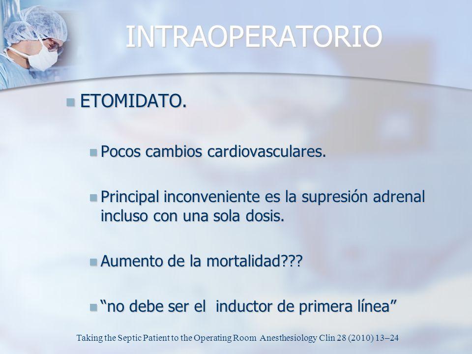 INTRAOPERATORIO ETOMIDATO. Pocos cambios cardiovasculares.