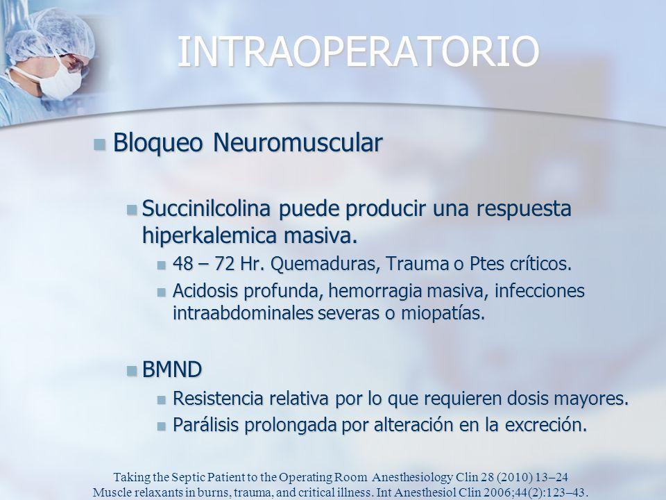INTRAOPERATORIO Bloqueo Neuromuscular