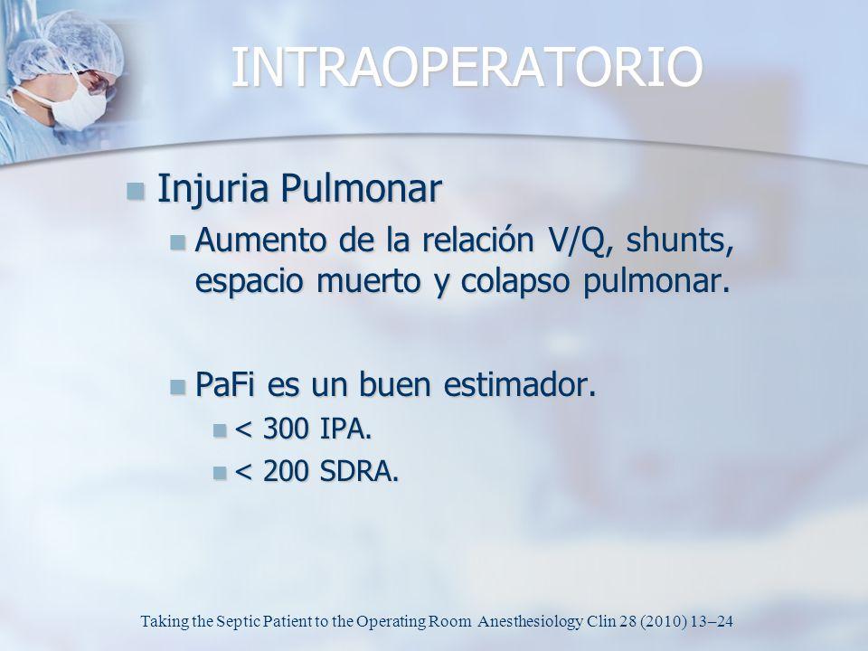 INTRAOPERATORIO Injuria Pulmonar