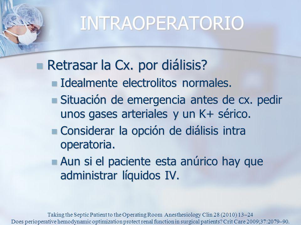 INTRAOPERATORIO Retrasar la Cx. por diálisis