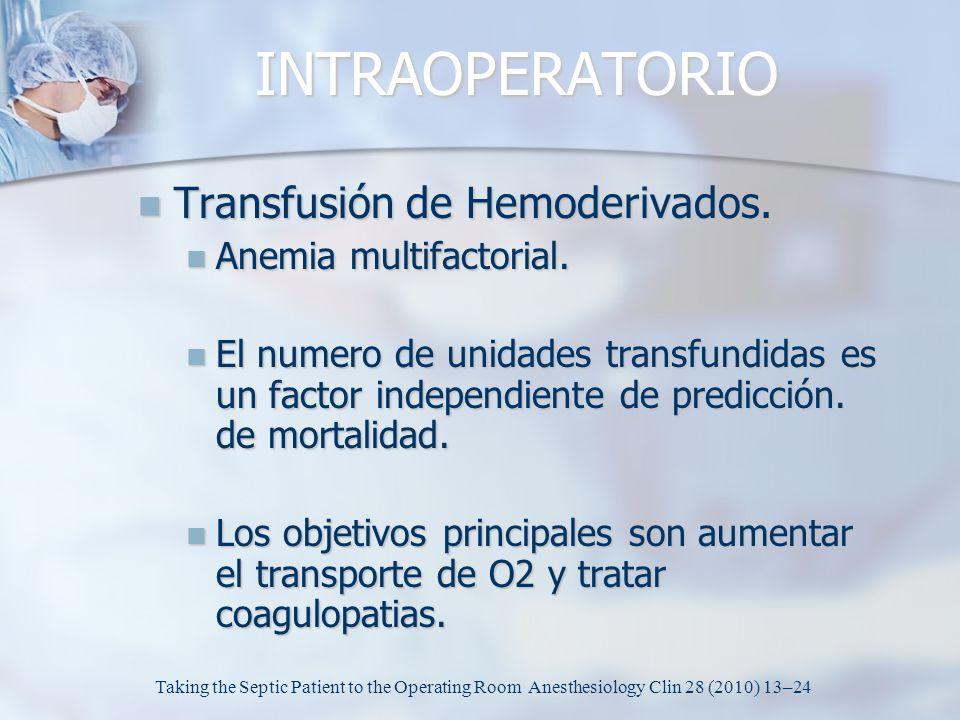INTRAOPERATORIO Transfusión de Hemoderivados. Anemia multifactorial.