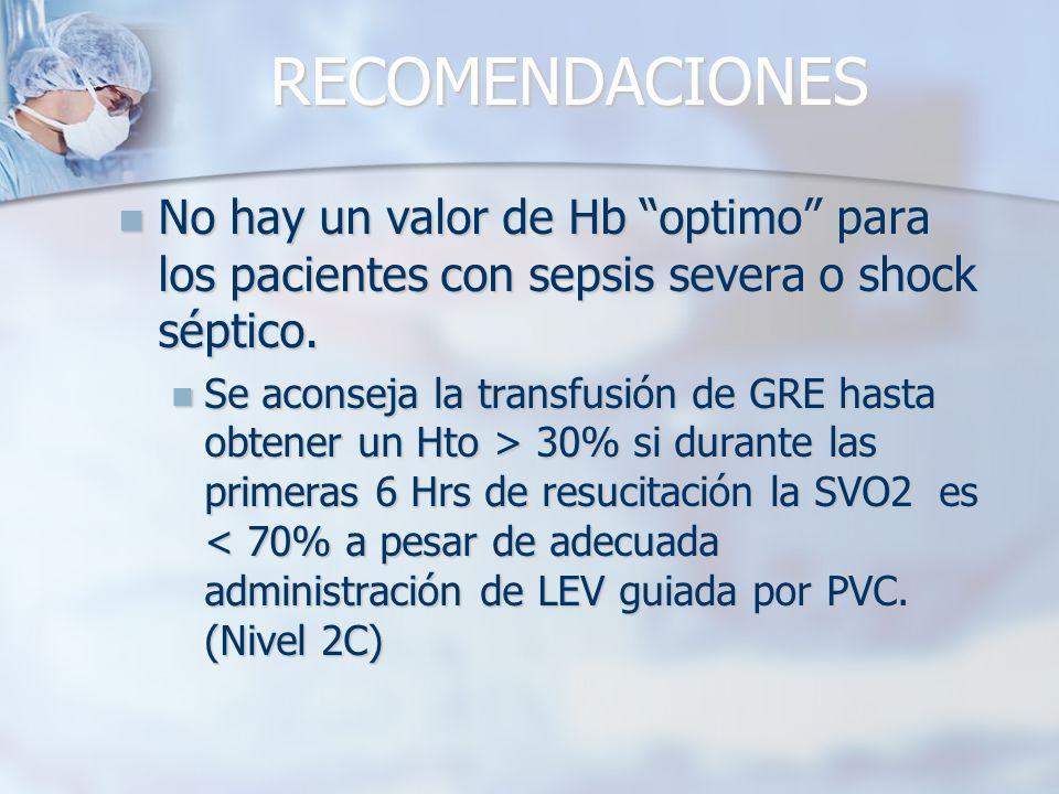 RECOMENDACIONES No hay un valor de Hb optimo para los pacientes con sepsis severa o shock séptico.