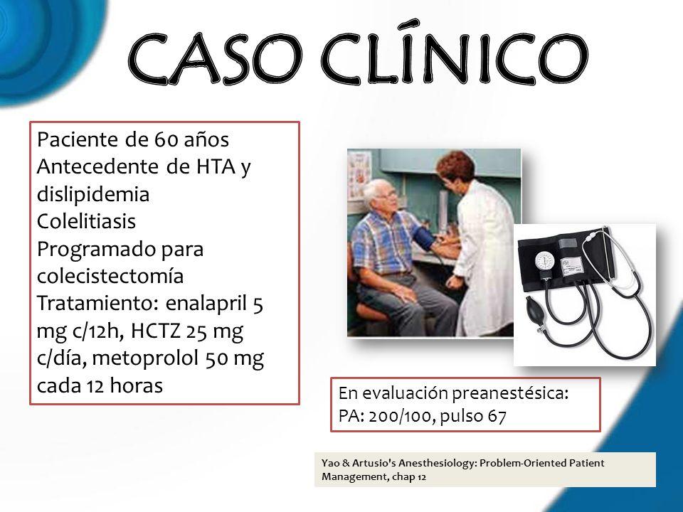 CASO CLÍNICO Paciente de 60 años Antecedente de HTA y dislipidemia