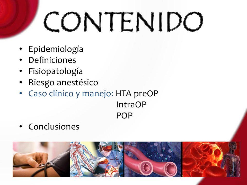 CONTENIDO Epidemiología Definiciones Fisiopatología Riesgo anestésico