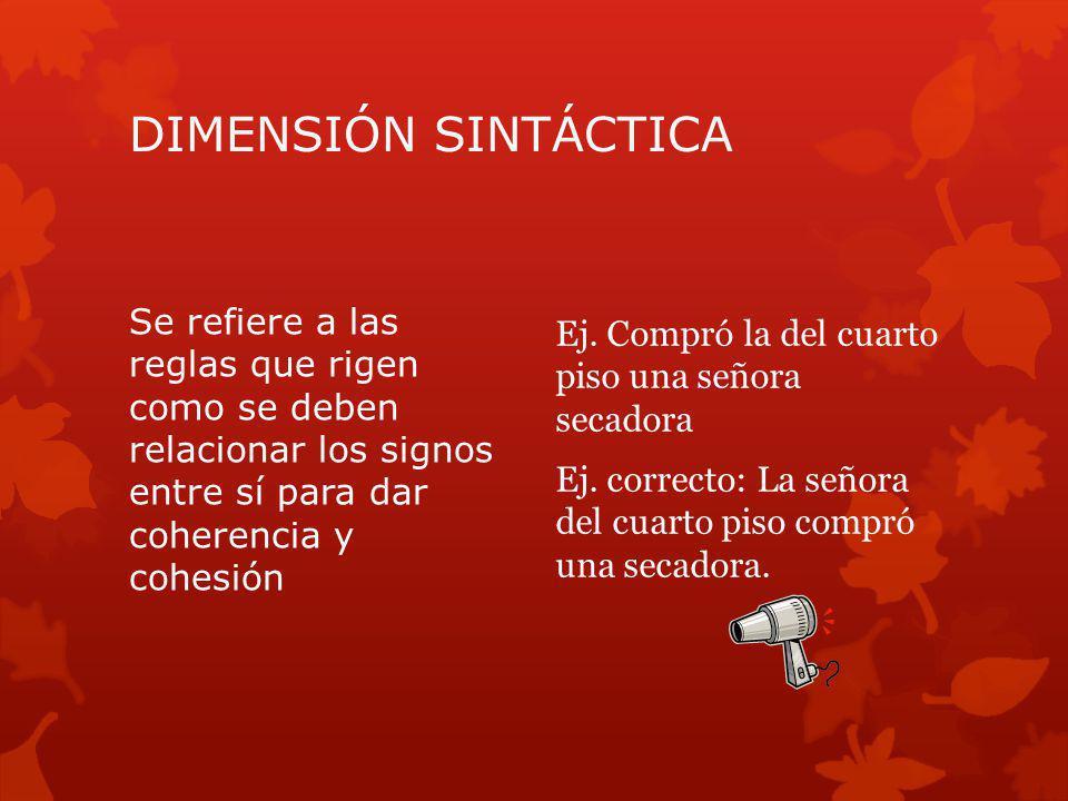 DIMENSIÓN SINTÁCTICA Se refiere a las reglas que rigen como se deben relacionar los signos entre sí para dar coherencia y cohesión.