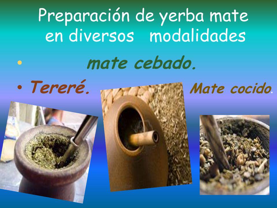 Preparación de yerba mate en diversos modalidades
