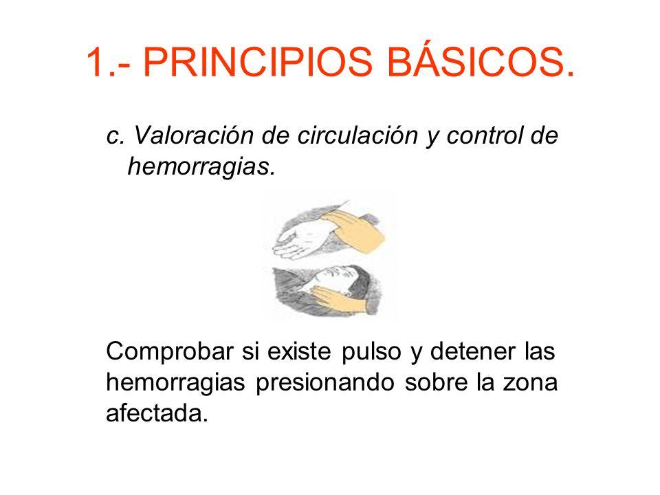 1.- PRINCIPIOS BÁSICOS. c. Valoración de circulación y control de hemorragias.