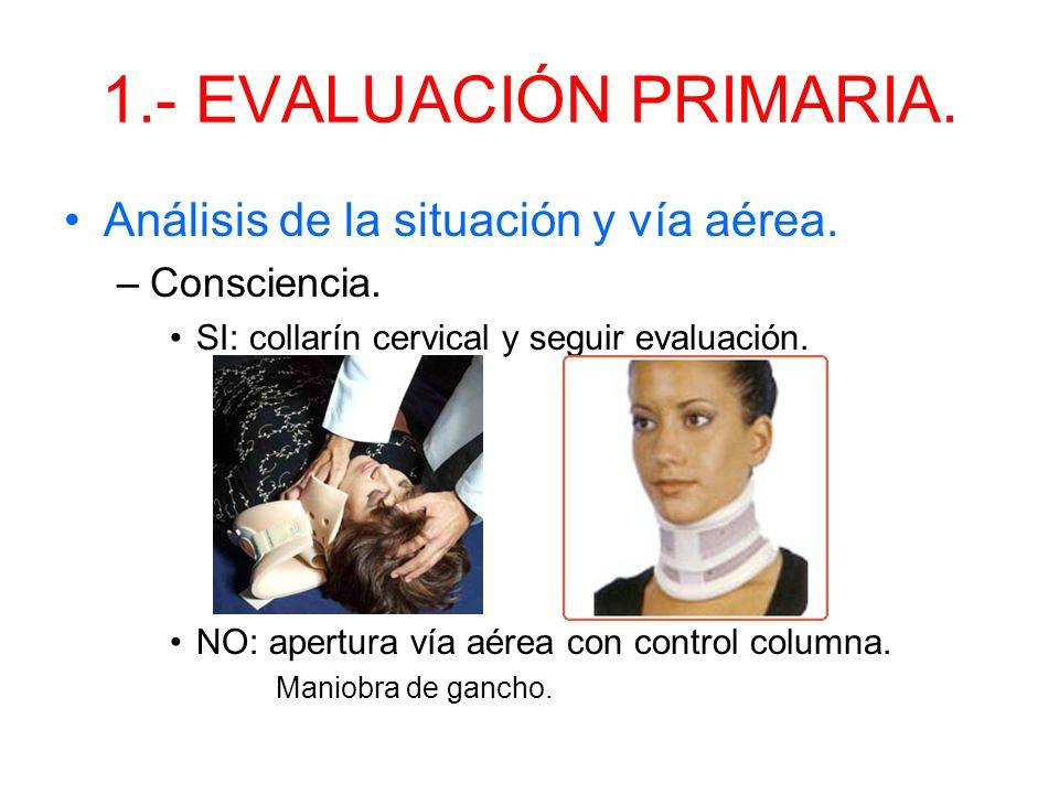 1.- EVALUACIÓN PRIMARIA. Análisis de la situación y vía aérea.