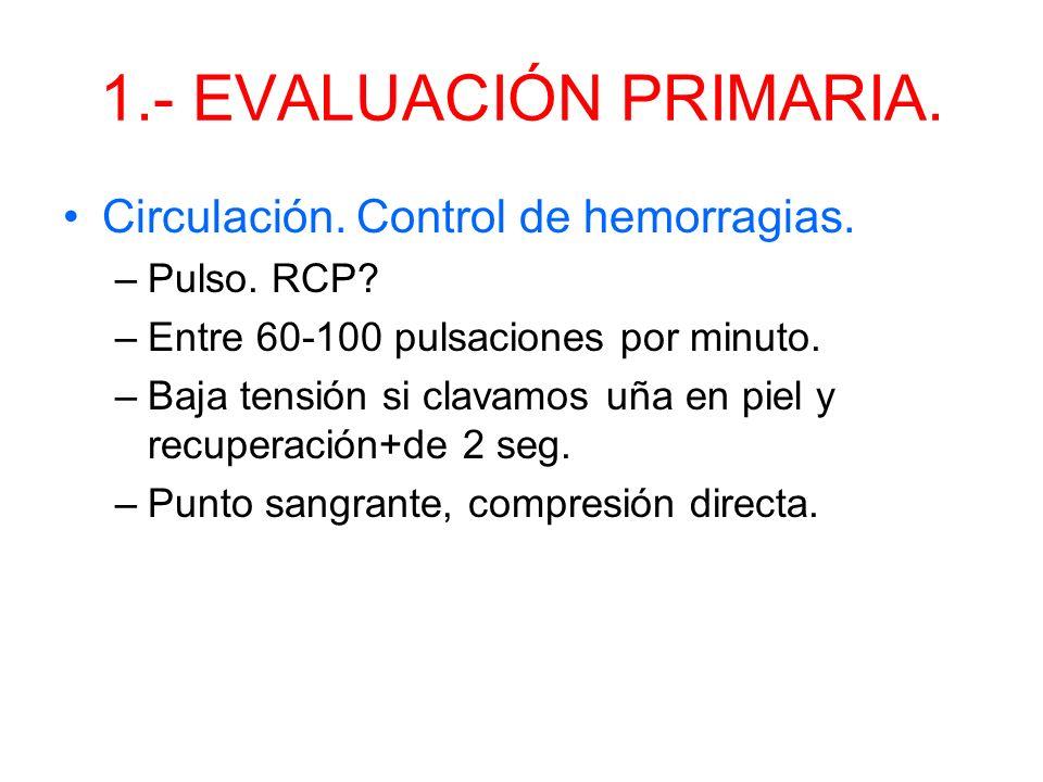 1.- EVALUACIÓN PRIMARIA. Circulación. Control de hemorragias.