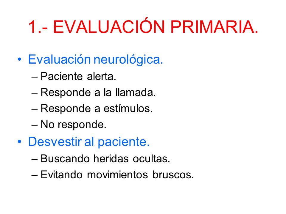 1.- EVALUACIÓN PRIMARIA. Evaluación neurológica.