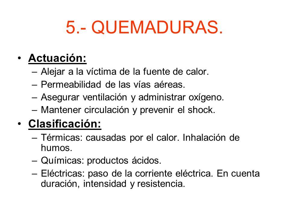 5.- QUEMADURAS. Actuación: Clasificación: