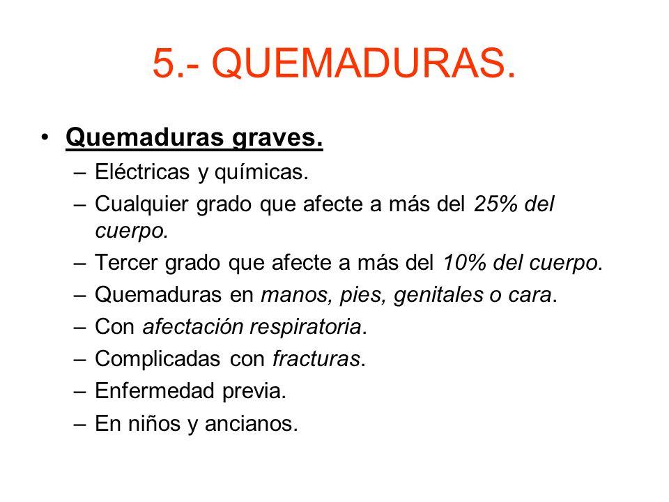 5.- QUEMADURAS. Quemaduras graves. Eléctricas y químicas.