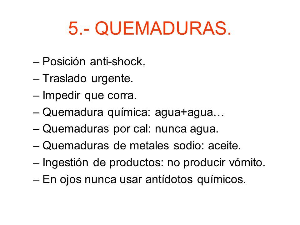 5.- QUEMADURAS. Posición anti-shock. Traslado urgente.