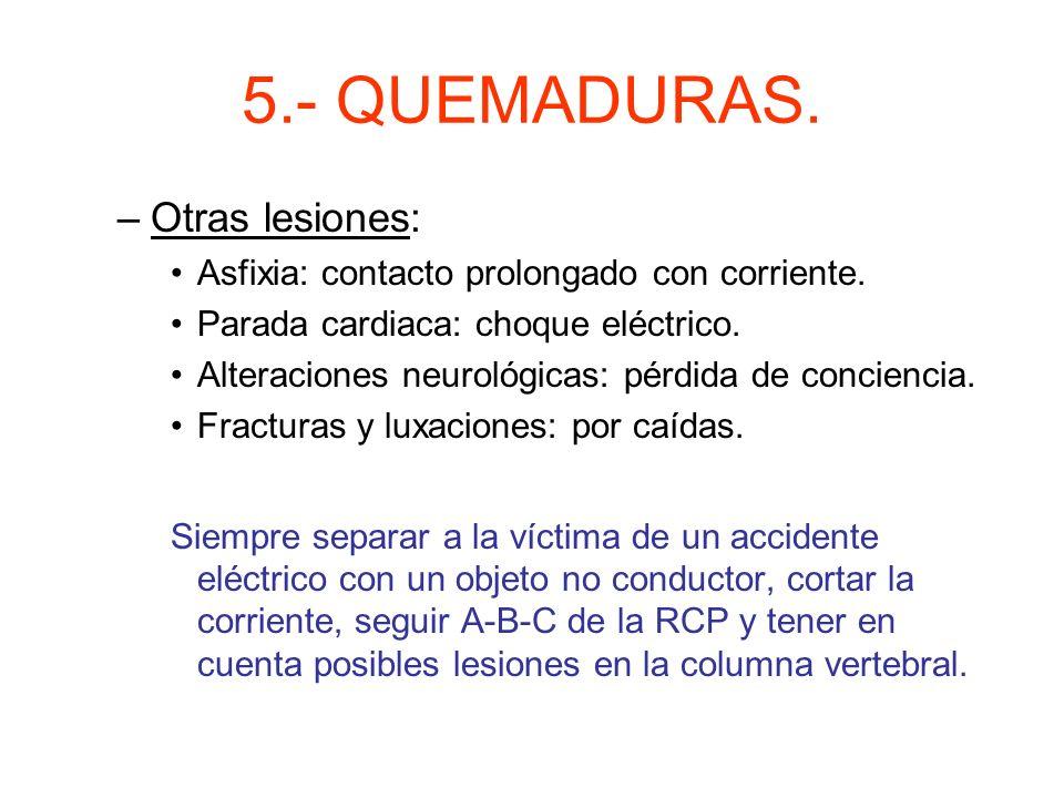 5.- QUEMADURAS. Otras lesiones: