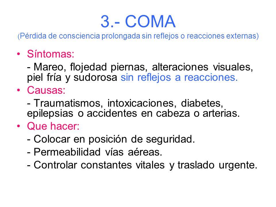 3.- COMA (Pérdida de consciencia prolongada sin reflejos o reacciones externas)
