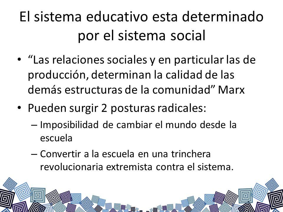 El sistema educativo esta determinado por el sistema social