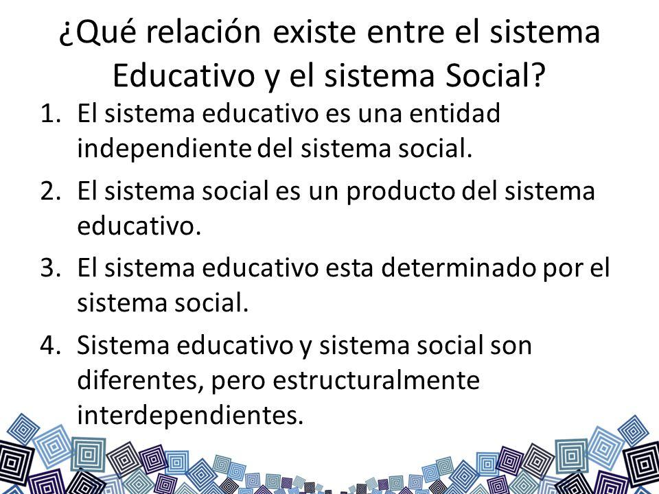 ¿Qué relación existe entre el sistema Educativo y el sistema Social