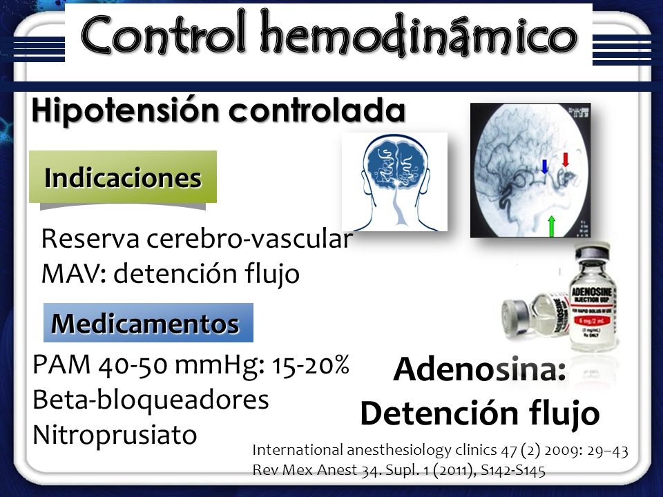 Control hemodinámico Adenosina: Detención flujo Hipotensión controlada