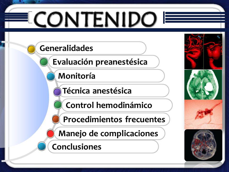 CONTENIDO Generalidades Evaluación preanestésica Monitoría
