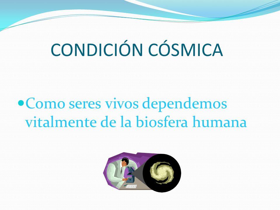 CONDICIÓN CÓSMICA Como seres vivos dependemos vitalmente de la biosfera humana