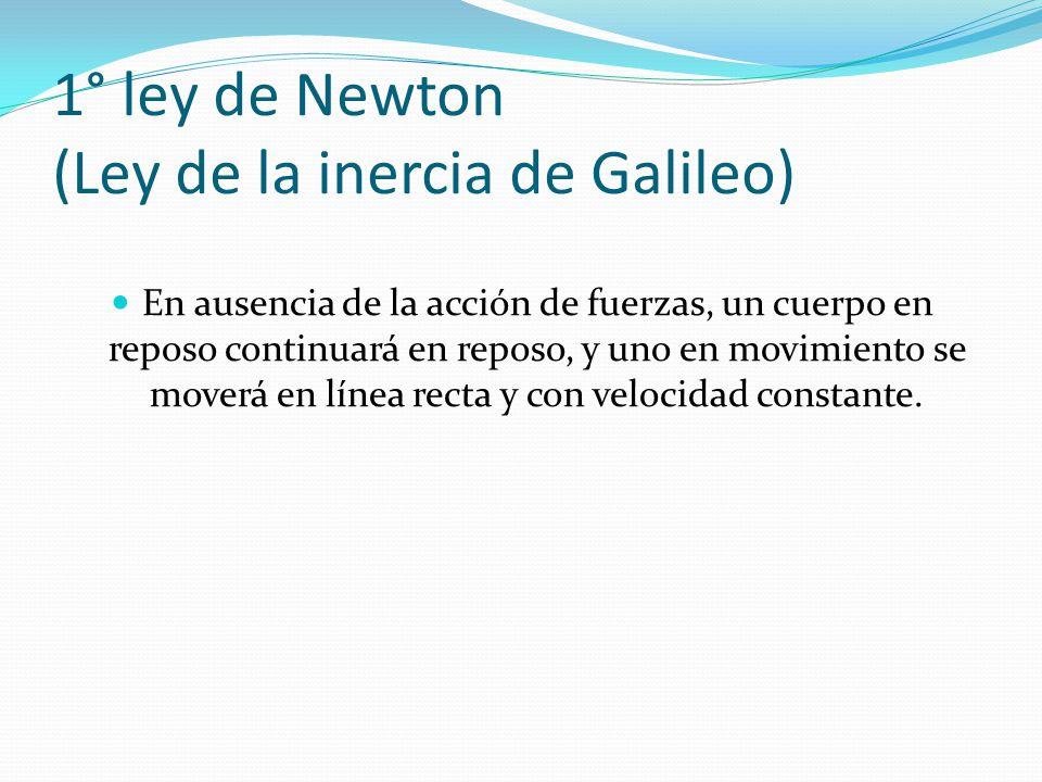 1° ley de Newton (Ley de la inercia de Galileo)