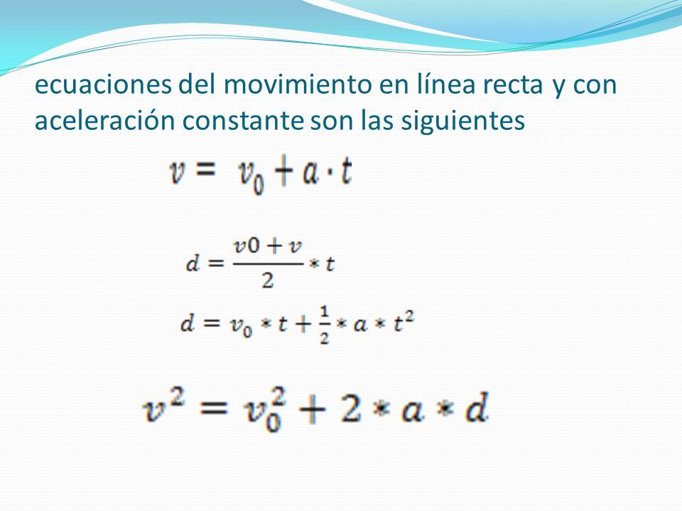ecuaciones del movimiento en línea recta y con aceleración constante son las siguientes