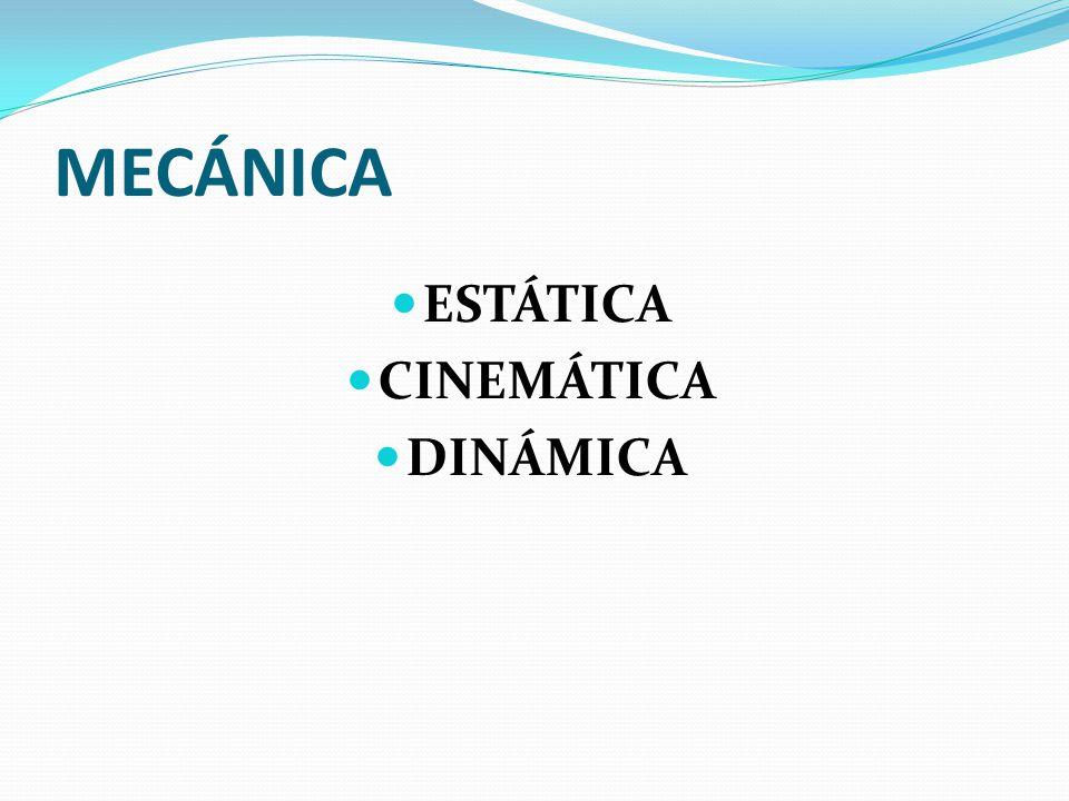 MECÁNICA ESTÁTICA CINEMÁTICA DINÁMICA