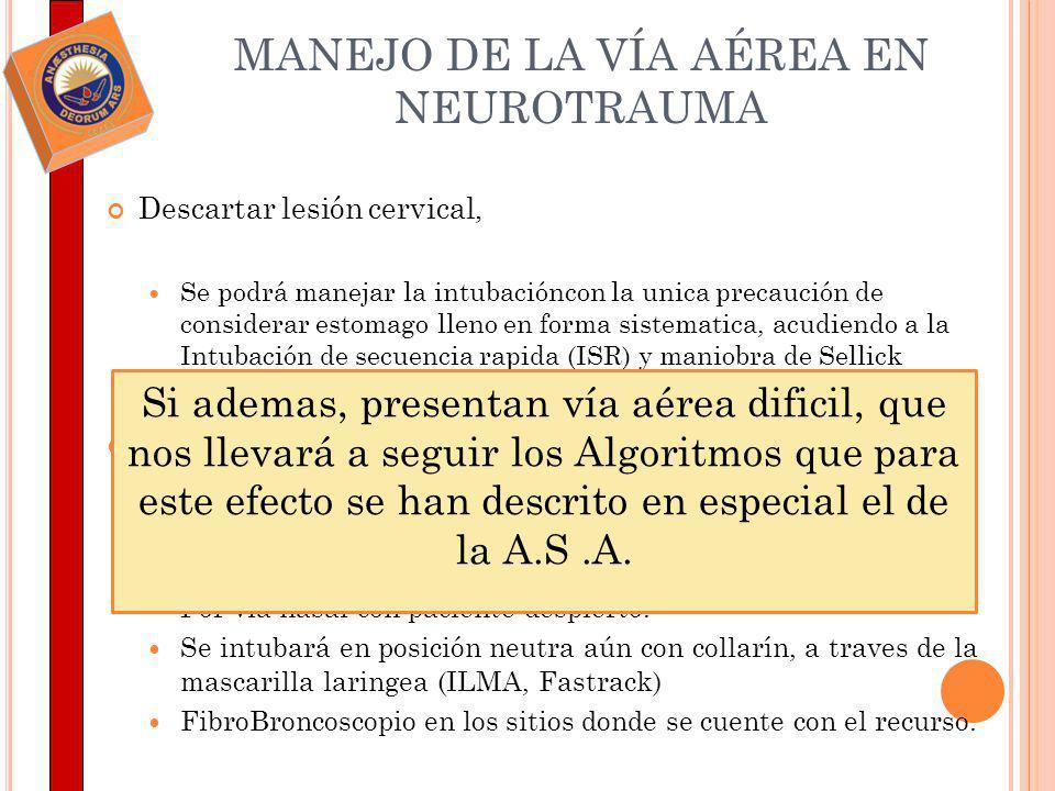 MANEJO DE LA VÍA AÉREA EN NEUROTRAUMA
