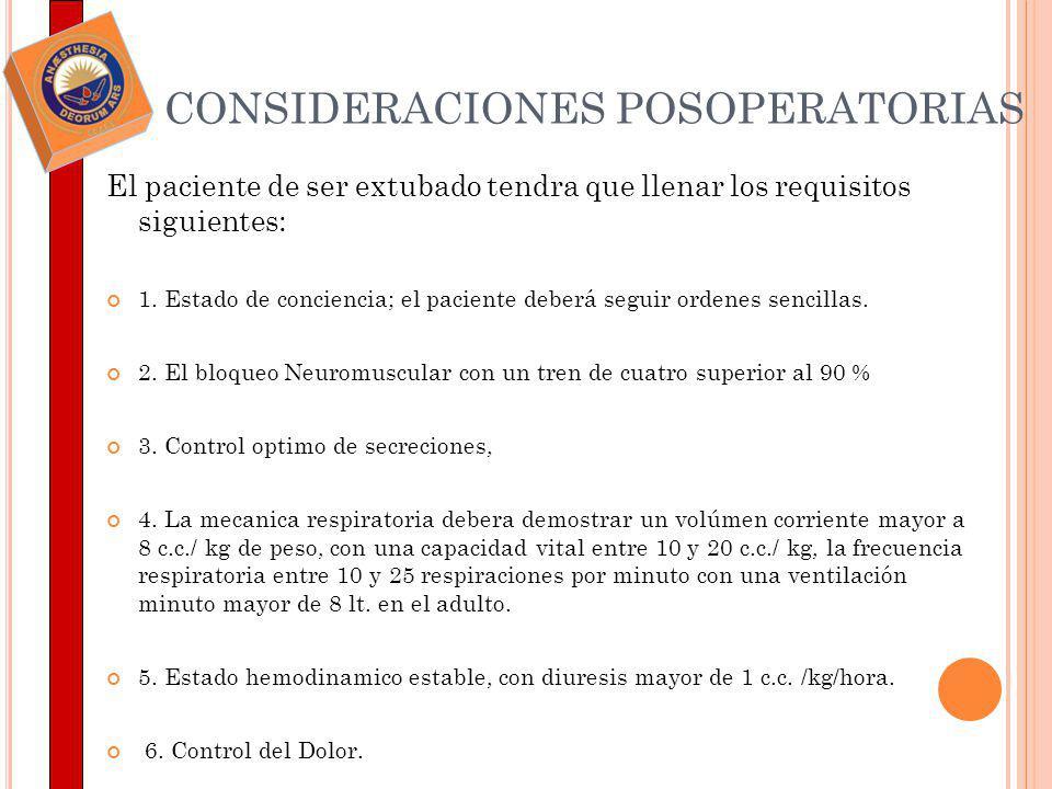 CONSIDERACIONES POSOPERATORIAS