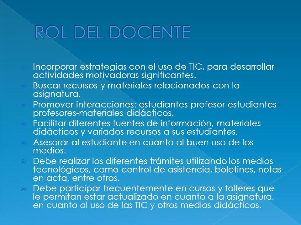 ROL DEL DOCENTE Incorporar estrategias con el uso de TIC, para desarrollar actividades motivadoras significantes.