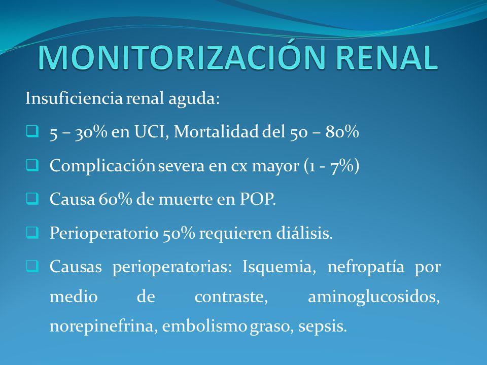 MONITORIZACIÓN RENAL Insuficiencia renal aguda: