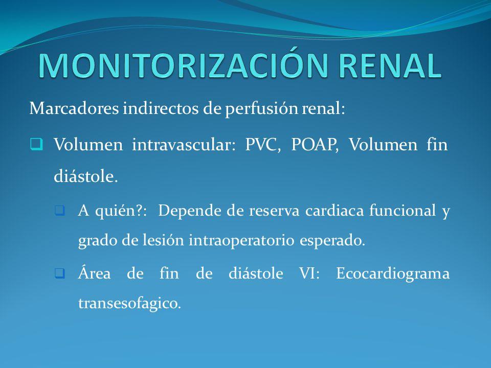 MONITORIZACIÓN RENAL Marcadores indirectos de perfusión renal: