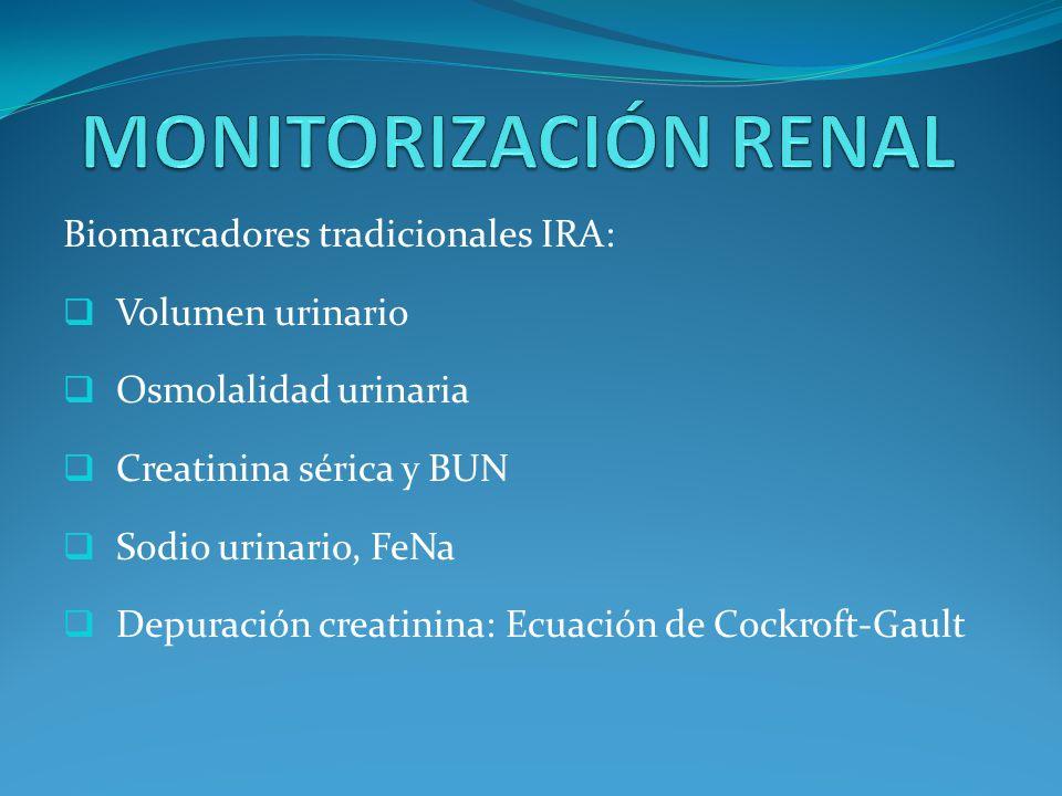MONITORIZACIÓN RENAL Biomarcadores tradicionales IRA: Volumen urinario