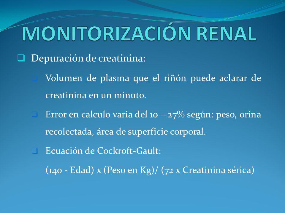 MONITORIZACIÓN RENAL Depuración de creatinina: