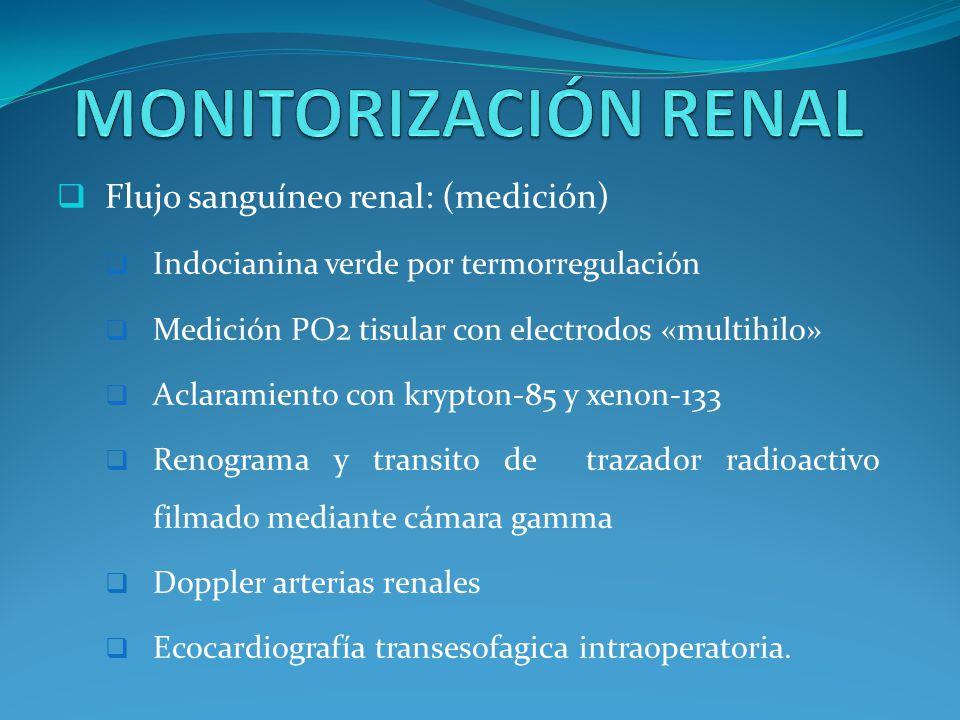 MONITORIZACIÓN RENAL Flujo sanguíneo renal: (medición)