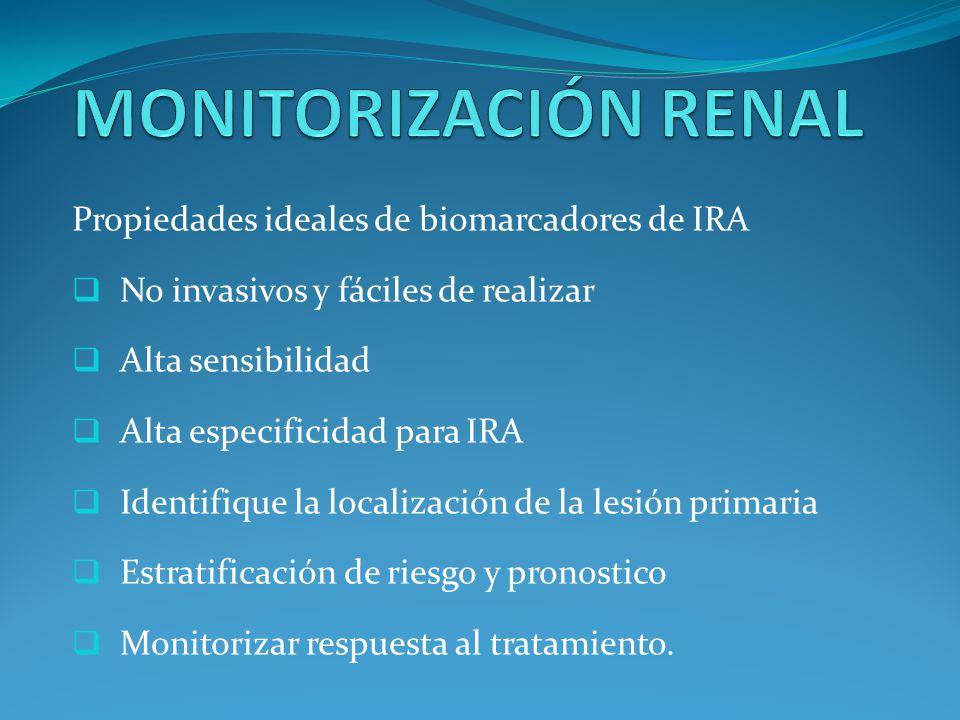 MONITORIZACIÓN RENAL Propiedades ideales de biomarcadores de IRA