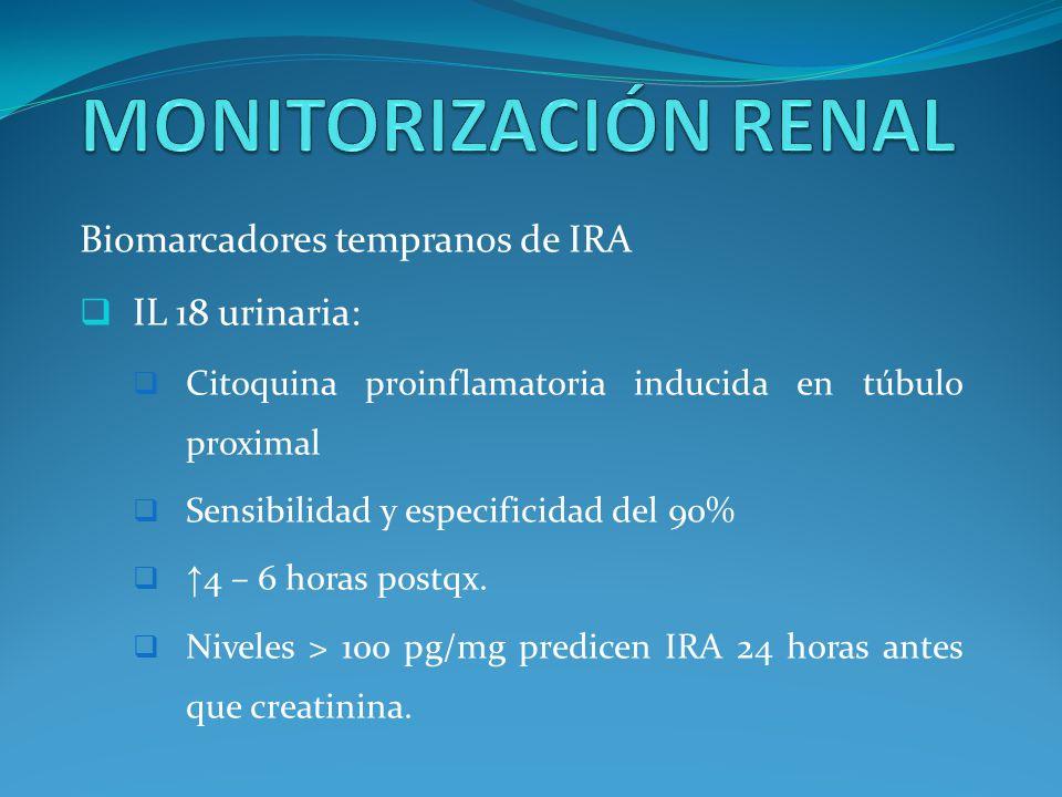 MONITORIZACIÓN RENAL Biomarcadores tempranos de IRA IL 18 urinaria: